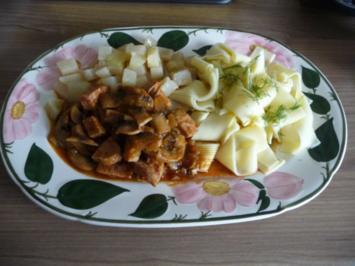 Gulasch : Wurst - Pilz - Gulasch aus dem Wok - Rezept