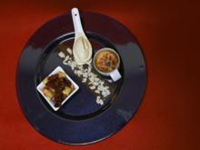 Kaiserschmarren, gebrannte Crème mit Mandeleis und afrikanische Zwetschgen in Balsamico - Rezept