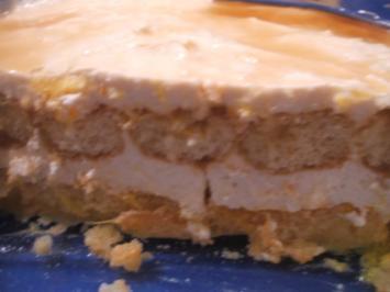Rezept: Dessert: Schneller Orangenquark auf Löffelbiskuit