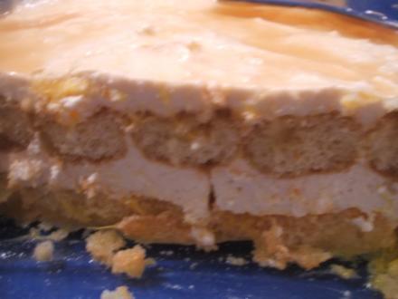 Dessert: Schneller Orangenquark auf Löffelbiskuit - Rezept