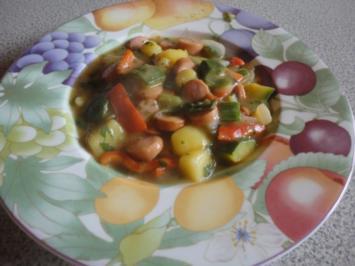 Bunter Würstel Gemüse Topf - Rezept