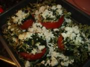 Tomaten mit Kritharaki-Spinatfüllung - Rezept