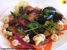 Blåmuslinger (Miesmuscheln) fra Limfjorden på rodfrugt fond med grøntsager og krebsehaler - Rezept
