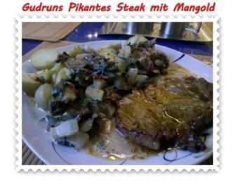 Rezept: Fleisch: Pikantes Steak mit Mangoldgemüse