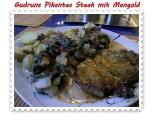 Fleisch: Pikantes Steak mit Mangoldgemüse - Rezept