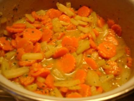 Kohlrabi-Möhrenblüten-Ingwer-Gemüse - Rezept