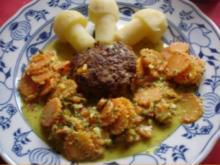 Maisbuletten mit Kartoffelpilzen und Möhrenblüten mit Kokosmilch - Rezept