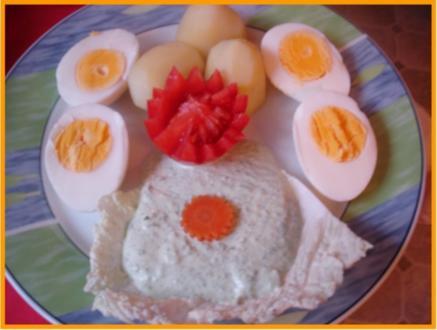 Gekochte Eier mit Grüner Sauce und Kartoffeln - Rezept
