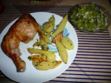Grill-Hähnchenschlegel an Rosmarinkartoffeln & Bohnensalat - Rezept