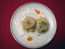 Jakobsmuscheln mit Black Pudding auf Kartoffel-Sellerie-Mus mit Whiskycreme - Rezept
