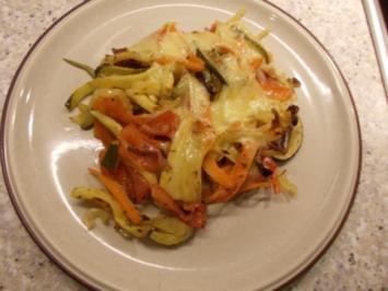 Überbackenes Gemüse mit Schinken und Käse - Rezept