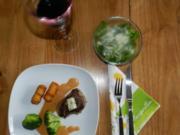 Rinderfilet mit Kroketten und Gemüse auf Pfefferrahmsoße - Rezept