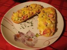 Salami-Schinken Baguett-köstlich belegt und überbacken - Rezept