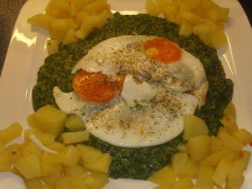 Spinat mit Bouillon-Kartoffelwürfel und Ei - Rezept