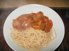 Hackpfanne mit Vollkornspaghetti - Rezept