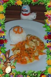 Geflügel : Putensteak - Streifen mit Möhren - Spaghetti - Rezept