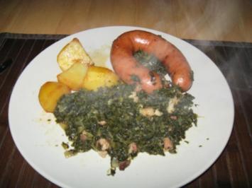 Grünkohl mit Bregenwurst und (gezuckerten) Kartoffeln - Rezept
