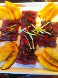 Thunfisch-Sashimi mit frischer Mango - Rezept