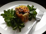 Lauwarmer Linsensalat mit Kartoffelmantel und Rapunzeln - Rezept