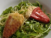 Gefüllte span.Paprika auf Rucola-Spaghetti - Rezept