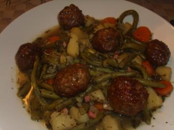 Grüne-Bohnen- Eintopf mit Lammhackbällchen - Rezept