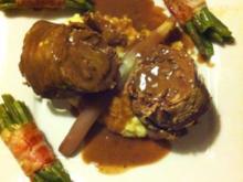Rinderroulade gef. mit Balsamicospargel, Sellerie-Kartoffelpüree mit Speckböhnchen - Rezept