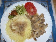 Kartoffelschnee mit Champignon und Dekogemüse - Rezept