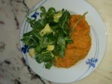 Süßkartoffelbrei mit grünem Salat - Rezept