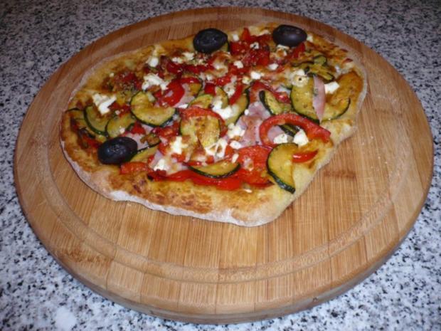 Hefefreie Pizza mit saftigem Schafskäserand (histaminfrei) - Rezept