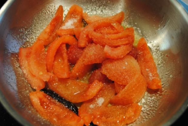 confiertes Kräuterhuhn / Risotto al' arrabiata / Vanille-Tomaten - Rezept - Bild Nr. 10
