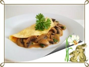 Rezept: ❀Einladung zum Osterfrühstück ❀ Omelett gefüllt mit Champignons