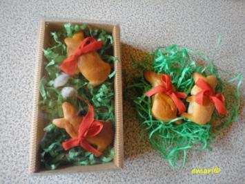 Osterhäschen aus Hefe Teig - Rezept