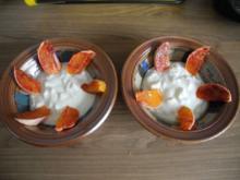 Dessert : Selbstgemachter Joghurt mit Apfelstückchen und Blutorange - Rezept