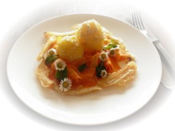 Sesamkartoffeln mit gebackenem Fenchel und Möhren - Rezept
