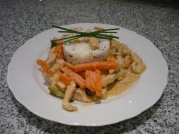 Puten-Karotten-Geschnetzeltes mit Schnittlauchreis - Rezept