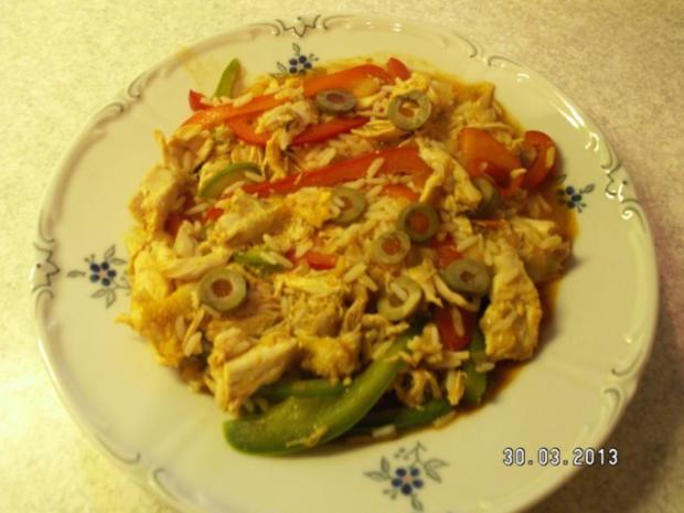 Curry-Reis mit Hähnchen und Paprika - Rezept