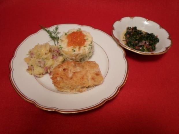 Hoki-Filet mit Eier-Käse-Panade, Blattspinat und Kartoffelvariation - Rezept