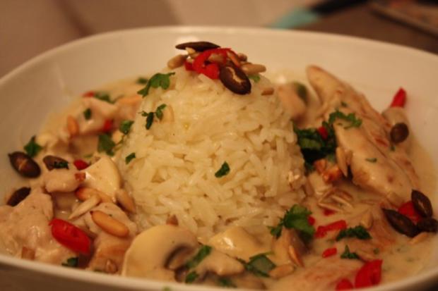 Putengeschnetzeltes mit Reisbeilage - Rezept