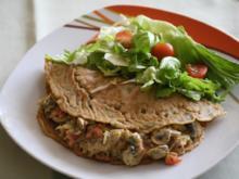 Vollkorn-Pfannkuchen mit Tomaten-Champignon-Füllung - Rezept