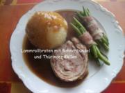 Lammrollbraten mit Bohnenbündel und Thüringer Klößen - Rezept