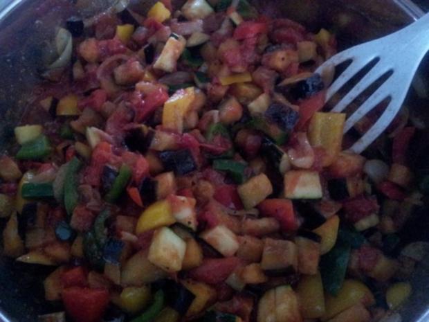 Gebratenen Auberginen mit Paprika - Rezept - Bild Nr. 5