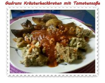 Hackfleisch: Kräuterhackfleischbraten mit pikanter Tomatensoße - Rezept