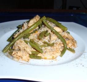 Putenstreifen-Bohnen-Reis-Pfanne - Rezept