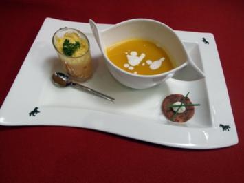 Süßkartoffelsüppchen mit Kokosschaum, Paprikamousse und Rote-Bete-Rösti - Rezept