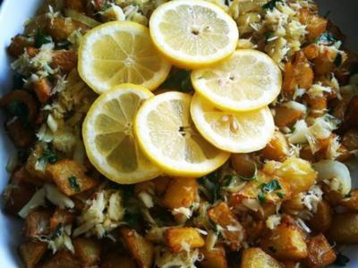 Stockfisch mit frittierten Kartoffelwürfeln - Rezept