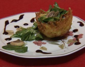 Rezept: Kartoffelnester mit Champignons und Feldsalat (Ralf Dammasch)