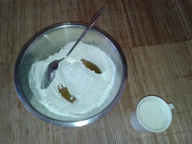 Fladenbrot mit Oliven und Speck. [oder Salami] - Rezept