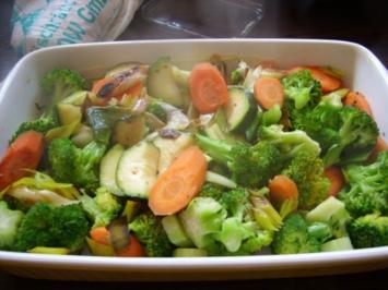 Gemüseauflauf mit gebratenem Lachs - Rezept