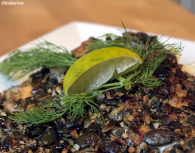 Lachsforelle in Kürbiskernkruste, Tagliatelle, Riesling-Dill-Schaum, Kräuterseitlinge - Rezept