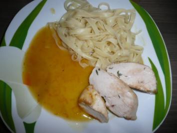 Orangen-Soße zu Hähnchenbrust und Tagliatelle , Salat der Saison - Rezept